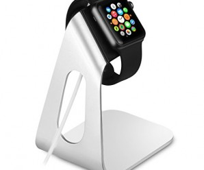Apple Watch Stand, OMOTON® Aluminum Charging Dock Charger Holder for Apple Watch (both 38mm and 42mm), with Built-in Comfortable Viewing Angle and Minimalist Design [Charging Cable NOT Included], Silver
