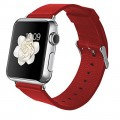 CIYOYO Leather Replacement Strap 42mm Wrist Band Straps for Apple Watch Classic Buckle Red