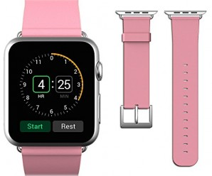 Apple Watch Band, JETech® 38mm Genuine Leather Strap Wrist Band Replacement w/ Metal Clasp for Apple Watch All Models 38mm (Leather – Pink)