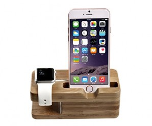 Apple Watch Stand, Jelly Comb™ [Charging Dock] Bamboo Wood Charge Station for Apple Watch & iPhone – Fits iPhone Models: 5 / 5S / 5C / 6 / 6 PLUS and both 42mm & 38mm sizes of 2015 Watch Models