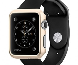 Apple Watch Case, Spigen® [Exact-Fit] Apple Watch 42mm Case Slim **NEW** [Thin Fit] [Champagne Gold] Premium Matte Finish Hard Case for Apple Watch 42mm (2015) – Champagne Gold (SGP11501)