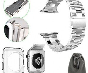 EEEKit Starter Kit for Apple Watch 38mm/42mm, 2 PCS Soft Silicon Replacement Watch Band Strap + Metal Clasp Connection Adapter + Clear TPU Protective Case Cover + EEEKit Pouch (Metal Wrist Band, Apple Watch 42mm)