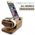 Megadream® Real Wood Phone Charging Cradle and Watch Bracket Stand Holder Charger for iPhone 6/ 6 Plus 5S 5C 5 4S 4, iPod, Apple Watch iWatch 38mm 42mm, Samsung Galaxy, Nokia, Sony Xperia, HTC, LG (Compatible with 5.5 inch) (Bamboo)