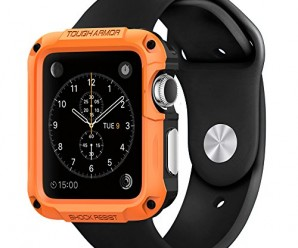 Apple Watch Case, Spigen® [Built-In Screen Protector] Apple Watch 42mm Case Protective **NEW** [Tough Armor] [Tangerine Tango] EXTREME Protection / Front Built-In Screen Protector Cover / Rugged but Slim Dual Layer Protective Cover for Apple Watch 42mm (2015) – Tangerine Tango (SGP11503)