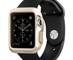 Apple Watch Case, Spigen® [AIR CUSHION] Apple Watch 42mm Case Protective **NEW** [Slim Armor] [Gold] – [Include 2 Screen Protectors] Air Cushioned Corners / Dual Layer Protective Case for Apple Watch 42mm (2015) – Gold (SGP11506)