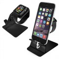 Orzly® – DuoStand Charge Station for Apple Watch & iPhone – Aluminum Desk Stand Cradle in BLACK with Built-In Insert Slots for both Grommet Wireless Charger and Lightning Cable for use as a fully functional Charging Dock for both your Apple Watch & iPhone Simultaneously – Fits iPhone Models: 5 / 5S / 5C / 6 / 6 PLUS and both 42mm & 38mm sizes of 2015 Watch Models (Original BASIC Model / SPORT Version / and EDITION Models)
