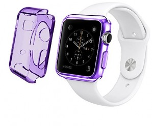 Apple Watch Case, LK [Purple Transparent] Apple Watch 38mm Clear Case Slim [Perfect Fit] TPU Flexible Soft Rubber Case Full Body Apple Watch Cover for 38mm Apple Watch – Clear Purple