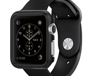 Apple Watch Case, Spigen® [Exact-Fit] Apple Watch 42mm Case Slim **NEW** [Thin Fit] [Smooth Black] Premium Matte Finish Hard Case for Apple Watch 42mm (2015) – Smooth Black (SGP11498)