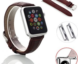 Apple Watch Band, oneCaseTM 42mm Genuine Leather Strap Wrist Band Replacement Watch Band with Metal Clasp for Apple Watch Sport Edition 42mm (42mm-Brown)