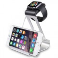 Apple Watch Stand, SPARIN® Aluminum Dual Stand Charge Station for Apple Watch & iPhone, With Perfect/ Multifunctional Viewing Angle and Elegant Design, Fit Apple Watch, Apple Watch Sport and Apple Watch Edition (Both 38mm and 42mm), [with Premium 2-in-1 Stylus Pen], Silver