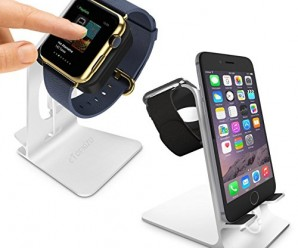 eTopxizu DuoStand Charge Station for Apple Watch & iPhone – Aluminum Desk Stand Cradle in SILVER with Built-In Insert Slots for Both Grommet Wireless Charger and Lightning Cable for Use As a Fully Functional Charging Dock for Both Your Apple Watch & iPhone Simultaneously – Fits iPhone Models: 5 / 5S / 5C / 6 / 6 PLUS and Both 42mm & 38mm Sizes of 2015 Watch Models (Original BASIC Model/ SPORT Version/ and EDITION Models)