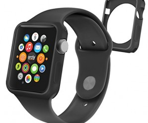 Orzly® – FlexiCase FacePlate for APPLE WATCH (42mm) – Protective Flexible Silicon Gel Case in BLACK – Retail Packed & Designed by Orzly® specifically for use with the APPLE WATCH (For 42mm Version of All 2015 Models – BASIC / SPORT / EDITION)