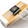 Apple Watch Stand, I-stasis [Charging Dock] for Apple Watch Charging Stand NEW [Apple Watch Stand] 100% Aluminum and Bamboo Cradle – Comfortable quick and easy connection for Apple Watch [38mm and 42mm] (2015) (Silver)