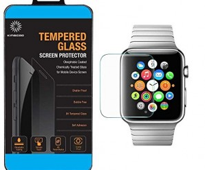 Apple Watch Screen Protector, KINGCOO 2 Pack Real 0.2mm Premium iWatch Tempered Glass Screen Protector Film for Apple Watch 38mm Size