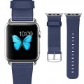 Apple Watch Band, J&D Genuine Leather Replacement Strap Classic Buckle Band for Apple Watch (Blue, 38mm)