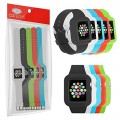 Sports-Band Multi-Pack For Apple Watch 42mm – Silicone Gel Wrist Strap With Built-in Watch Frame Surround Includes Black, White, Red, Green and Blue Straps