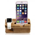 Apple Watch Stand, NewRice[Charging Dock] Bamboo Wood Charge Station /Cradle for Apple Watch & iPhone – Fits iPhone Models: 5 / 5S / 6 / 6 plus/6s and both 42mm & 38mm sizes of 2015 Watch Models (Bamboo Wood)