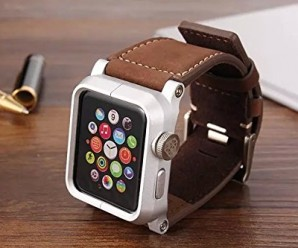 Apple Watch Band, Mkeke® 42mm Vintage Crazy Horse Genuine Leather Strap Wrist Band Replacement w/ Metal Clasp for Apple Watch All Models 42mm (Brown Leather/aluminium bumper M007)