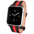 Apple Watch Pebble Leather Dual Material Band, Poetic [Premium Leather] Apple Watch 42mm Replacement Band **NEW** [Volante] – Premium Material Pebble Leather with Quilted Leather and Red Sport Stitching Design and Wide Band with Integrated Metal Clasp for Apple Watch 42mm (2015) – Black/Red (3-Year Manufacturer Warranty From Poetic)