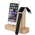 Premium [2 in 1] Apple Watch Stand & iPhone Stand, [Charging Dock] Solid Aluminum Body Desk Charging Station, Apple Watch Charging Stand Cradle Holder for Apple iWatch 38mm/42mm, Comfortable Viewing Angle Charging Stand for iPhone 5, 5s, 6, iPhone 6 Plus (MM601) (Champagne Gold)