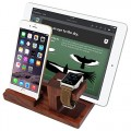 [3 in 1] Apple Watch Stand & iPhone Stand & iPad Stand, [Charging Dock] Smooth Natural Wood Body Desk Charging Station, Apple Watch Charging Stand Cradle Holder for Apple iWatch 38mm/42mm, Comfortable Viewing Angle for iPhone 5s, 6, 6 Plus, iPad Air, iPad Air 2, iPad mini (MM607 Wooden Stand)