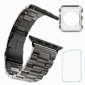 Apple Watch Band,T-Trees 42mm (3) Stainless Steel Metal Replacement Strap Wrist Band For Apple Watch + Free Screen Protection Film + Free Apple Watch TPU Ultra-Thin Case (42mm (3) Black)