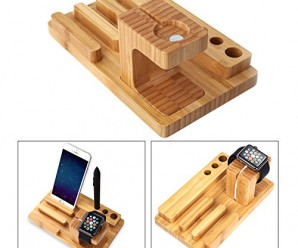 Apple Watch Stand, Topoint® Charging Station Bracket Docking Holder Platform Bamboo Wood Material Compatible With All Versions of iWatch 38mm & 42mm iPhone & iPad