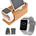 EEEKit 2-in-1 Kit for Apple Watch 38mm 42mm and iPhone 6 iPhone 6 Plus 5 / 5S / 5C / 4S, Mesh Stainless Steel Metal Replacement Strap Wrist Band + Wood Charging Stand Bracket Docking Station Holder (For Apple Watch 42mm, Silver)