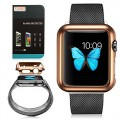 Apple Watch iWatch 42MM Case, G-CASE High Quantity Ultra Thin Slim Metal Plated Hard Protective Case Retail Box For Apple Watch iWatch 42MM + TJS® Tempered Glass Screen Protector (42MM Gold)