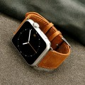 Apple Watch Band with Metal Clasp, Jisoncase® 42 mm Genuine Cow Leather Watchband Strap with Stainless Steel Buckle for Apple Watch iwatch 42 mm – Brown