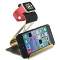 Apple Watch Stand – Poetic Smartphone [Apple/Android] / Apple Watch Dual Stand [Loft] – [Aluminum] [Versatile][Elegant] Aluminum Made Stand with TPU Dock [Charging Cable & Watch Case & Watch NOT INCLUDED] for Smartphone[Apple/Android] / Apple Watch Gold (3-Year Manufacturer Warranty From Poetic)