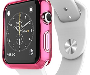 Apple Watch Case, E LV [Ultra Slim] Apple Watch 38mm Case Premium Semi-transparent Super Lightweight / Exact Fit / Absolutely NO Bulkiness Soft Case for Apple Watch 38mm with 1 Microfiber Cleaning Cloth [HOT PINK]