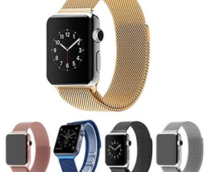 Apple Watch Band,Teslasz® 38mm Mesh Replacement Strap Stainless Steel Milanese Loop Strap Magnetic Buckle Wrist Band for Apple iWatch All Models (Gold 38 MM)