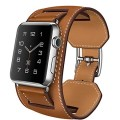 V-MORO® Apple Watch Cuff Band, Apple Watch Band Leather,Genuine Leather Band Cuff Bracelet Leather Watchband With Adapter for Apple iWatch (Brown 42mm)