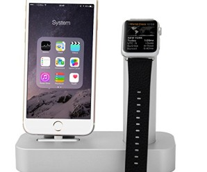 Apple Watch Stand, STOUCH Stands for the Apple Watch by Aluminium,Apple Watch Stand,Apple Watch Dock,Apple Watch Station [2 in 1] Apple Watch Charging Stand & iPhone Charging Stand Desk Charger Bracket Station Platform Comfortable Viewing Angle Cradle Holder – (2 in 1 Silver)