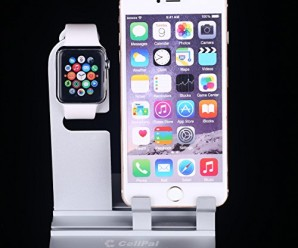 Iphone Stand Iwatch Stand 38mm and 42mm Ipad Stand[2 in 1]Charging Dock Charging Station, Charging Stand Holder Comfortable Viewing Stand for Iphone6 6s + 5 5s(Silver)