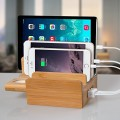 Fleck CS007 5-Port USB Desktop Charging Station Bamboo Universal Multi Device Dock Organizer Apple Watch Stand For Direct-Charging Smartphone, iPhone, iPad, Apple Watch, Tablet