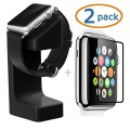 Apple Watch Stand, Acatim Apple Watch Holder Silicone Charging Mount Cradle for iWatch +2-Pack Acatim Apple Watch Tempered Glass Screen Protector (38mm)