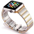 Apple Watch Band, 42mm Golden Stainless Steel iWatch Band Strap, Polishing Metal Watchband with Butterfly Buckle, Quality Connector& Free Tempered Glass Screen Protector (42mm-Gold)