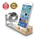 Apple Watch Stand, Jelly Comb Aluminum and Bamboo Wood Charge Station for Apple Watch and iPhone, Fits iPhone Models: 5 / 5S / 5C / 6 / 6 Plus and both 42mm and 38mm Sizes of 2015 Watch Models