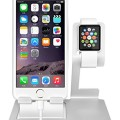 iComboStand Cradle Dock Charger and Cable Management System for Apple Watch iPhone iPad Tablet Silver