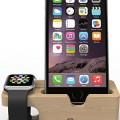 Apple Watch Stand: Stalion Desktop Charging Dock Station Universal Cradle Dock Holder for Apple Watch & iPhone 6 6s Plus (2 in 1)(Bamboo Wood)