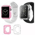 Apple Watch Case [Set of Two Colors], JOTO Apple Watch 38mm Case Slim [Crystal Clear / Perfect Fit / Flexible / Semi-transparent / Lightweight] Full Body Soft Apple Watch Cover Case for 38mm Apple Watch (Pink and Clear)