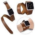 Three styles[Single tour][Cuff][Double Tour] in one Package,Classic Genuine Leather watch Band strap Bracelet Replacement Wrist Band With Adapter Clasp for Apple Watch (38mm Brown)