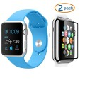 Apple Watch Band, Camkey Soft Silicone Fitness Replacement Pieces Sport Band for 38mm Apple Watch All Models, Blue (3 of Bands Included for 2 Lengths) + 2 Pack Glass Screen Protector
