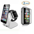 Apple Watch Stand, Camkey Iwatch Charging Stand Aluminum Charging Dock + 2 Pack Glass Screen Protectors 42mm