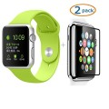 Apple Watch Band, Camkey Soft Silicone Fitness Replacement Pieces Sport Band for 38mm Apple Watch All Models, Green (3 of Bands Included for 2 Lengths) + 2 Pack Glass Screen Protector