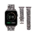 Watch Band Replacement,SD Trading Silver Bling Leather Strap Wrist Band Apple Watch Band with Silver Adapter Clasp/ Stainless Steel Buckle for Apple Watch & Sport & Edition 38mm