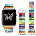 Apple Watch Band+adapter 42mm Stainless Steel Silver Metal Replacement Strap Wrist Band for iPhone Watch 42mm (100% Leather Retro colorful horizontal stripes)