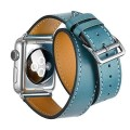 Apple Watch Band, Cara iWatch band Genuine Leather Double Tour Watch Strap Wrist Band Replacement Clasp for Apple Watch & Sport & Edition(38mm Blue)